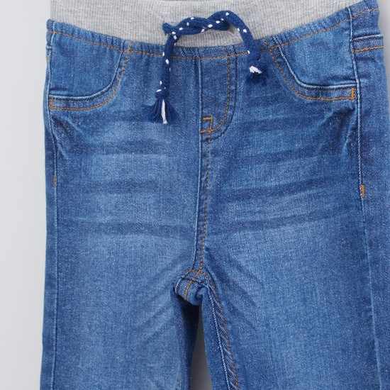 Full Length Jeans with Elasticised Waistband and Drawstring