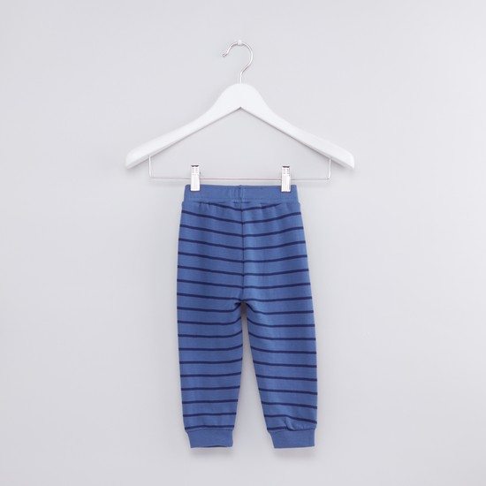 Striped Jog Pants with Elasticised Waistband and Drawstring