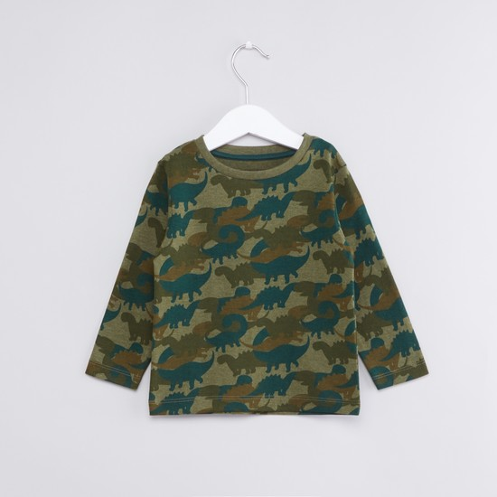 Dino Printed T-Shirt with Round Neck and Long Sleeves