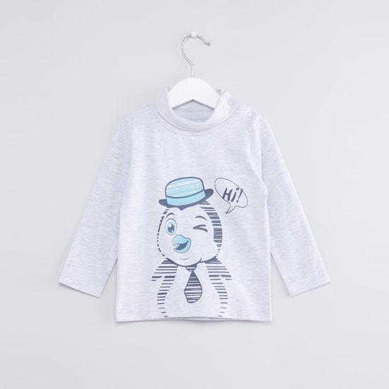 Printed Turtleneck T-Shirt