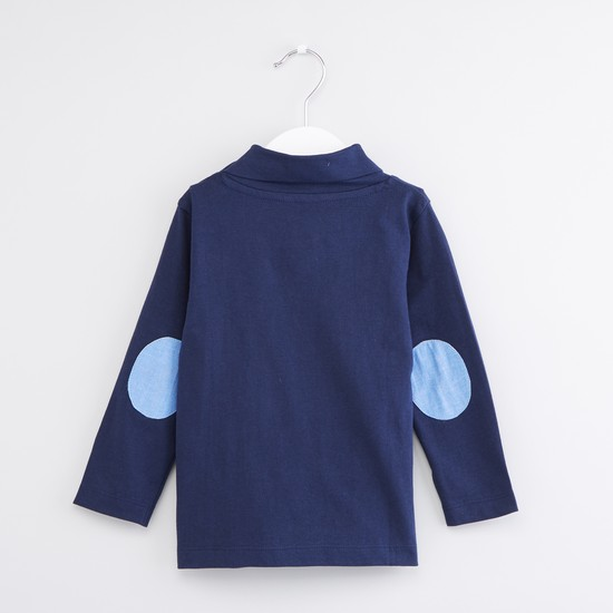 Elbow Patch Detail Turtleneck Long Sleeves T-Shirt