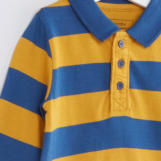 Striped Polo Neck Long Sleeves T-Shirt