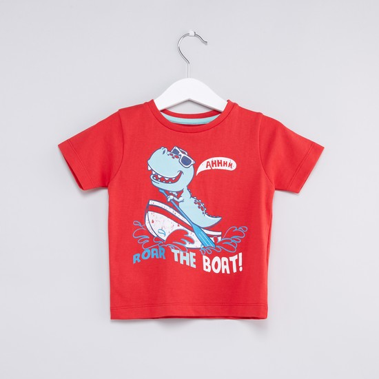 Dinosaur Printed Round Neck Short Sleeves T-Shirt