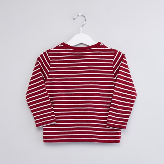 Striped Round Neck T-shirt with Short Sleeves