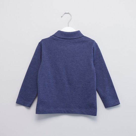 Textured High Neck T-shirt with Long Sleeves