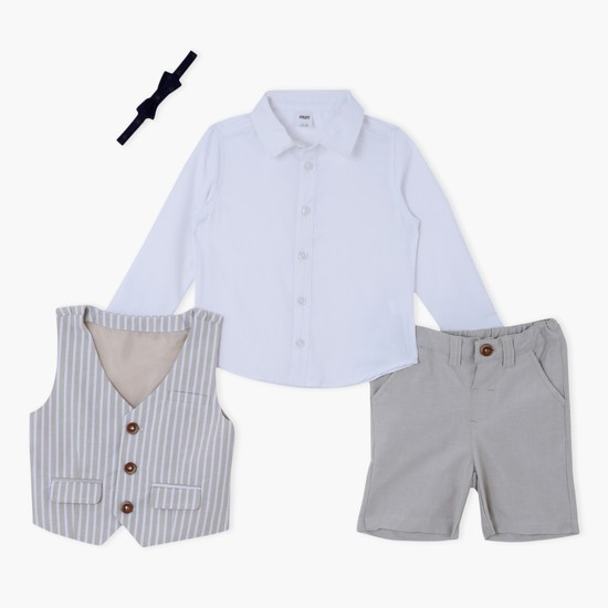 Long Sleeves Shirt with Striped Waistcoat and Shorts Set