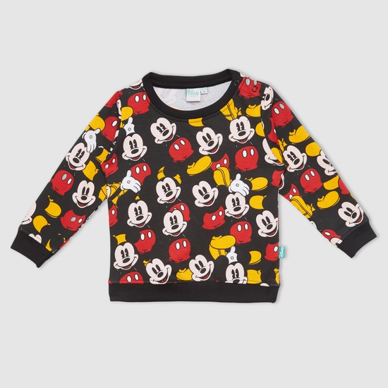 Mickey Mouse Printed Round Neck Long Sleeves Sweat Top