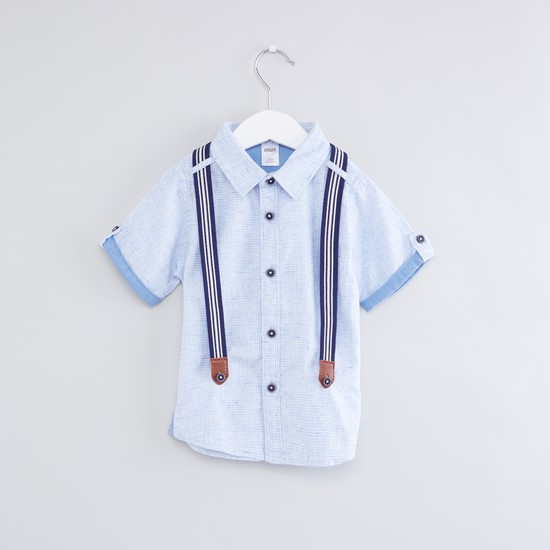 Suspender Style Short Sleeves Shirt