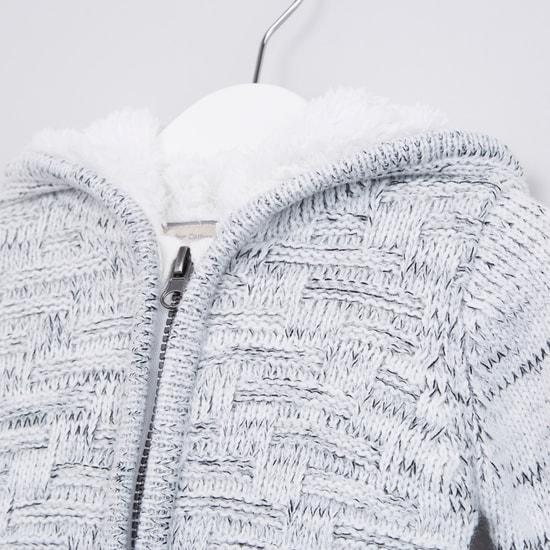 Textured Plush Hood Long Sleeves Cardigan
