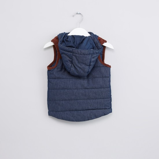 Textured Sleeveless Hooded Jacket