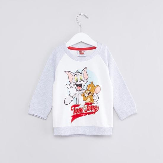 Tom and Jerry Printed Raglan Sleeves Sweat Top