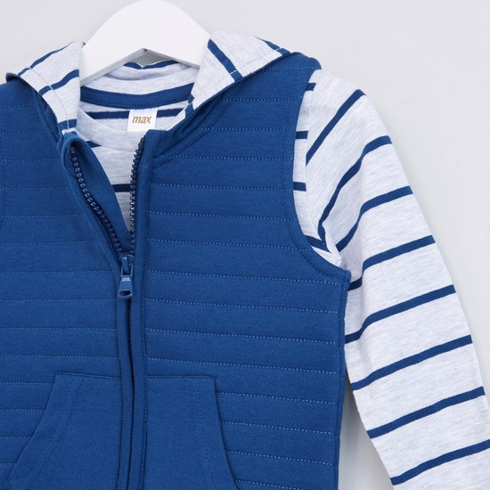 Textured Gilet with Striped Long Sleeves T-Shirt