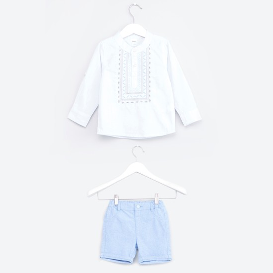 Embroidered Longline Shirt with Shorts