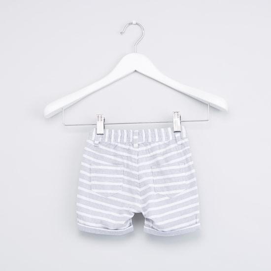 Mandarin Collar Shirt with Striped Shorts