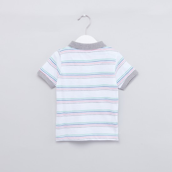Striped Polo T-shirt and Shorts with Drawstring Detail