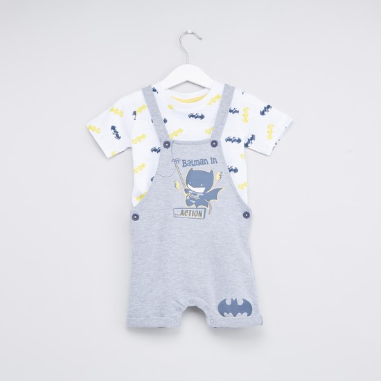 Batman Themed Round Neck T-shirt and Dungaree Set