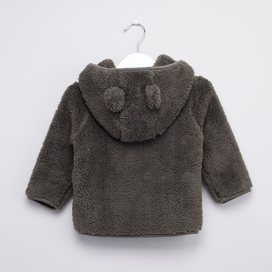 Hooded Zip Front Fur Jacket with Long Sleeves