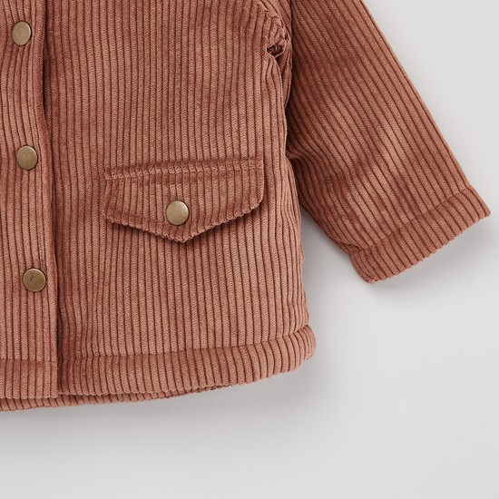 Ribbed Jacket with Long Sleeves and Button Closure