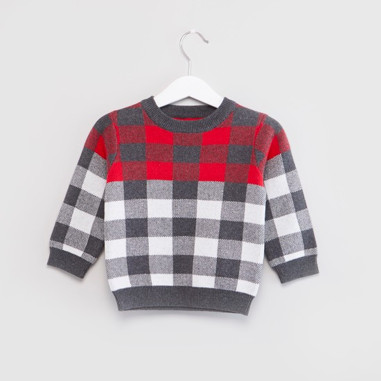 Round Neck Checked Sweater with Long Sleeves