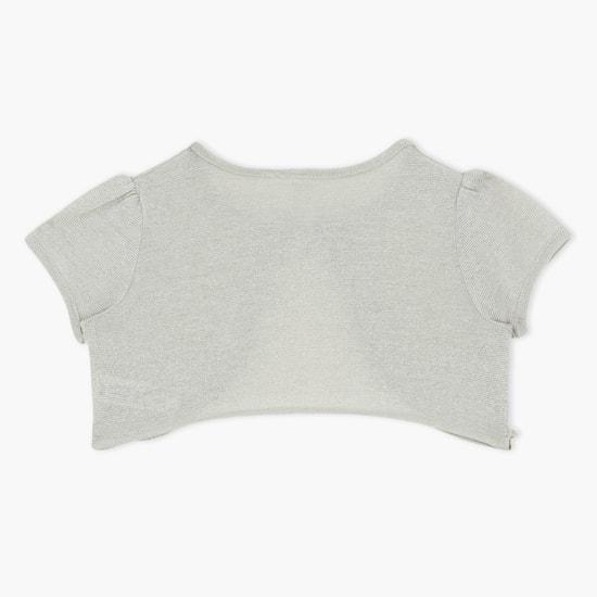 Sequin Design Short Sleeves Shrug
