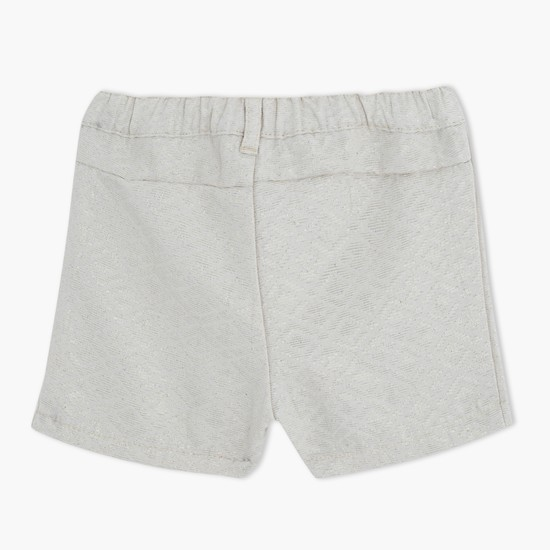 Textured Shorts with Front Pleats
