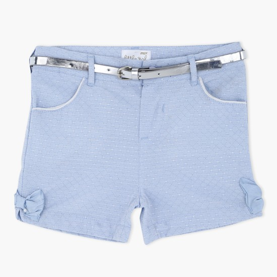 Woven Shorts with Bow Appliques and Belt