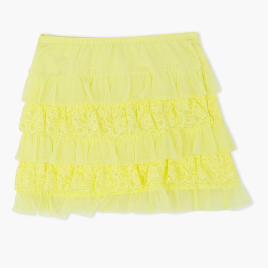 Knitted Skirt with Lace Frills