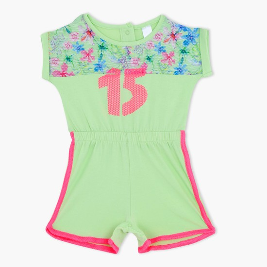 Printed Romper with Elasticised Waistband