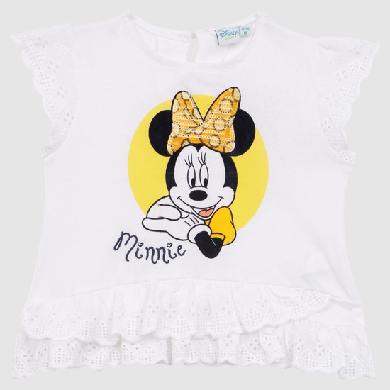Minnie Mouse Embellished Round Neck T-Shirt