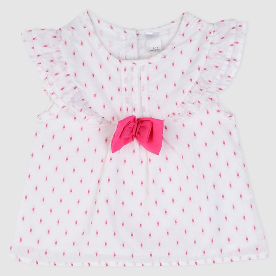 Textured Woven Top with Bow Applique