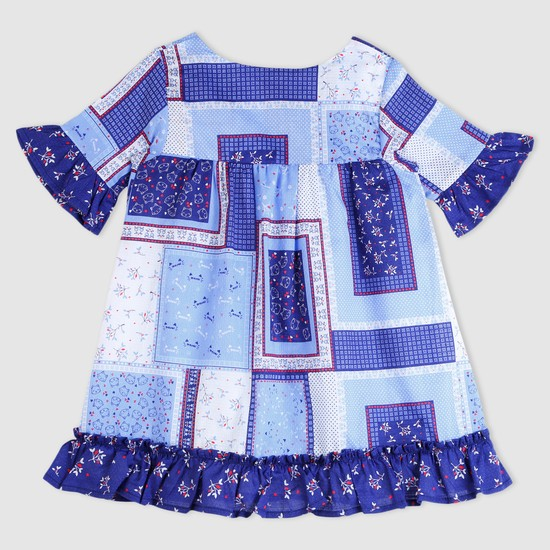 Printed Frill Detail Dress