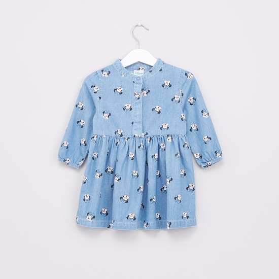 Minnie Mouse Printed Denim Long Sleeves Dress