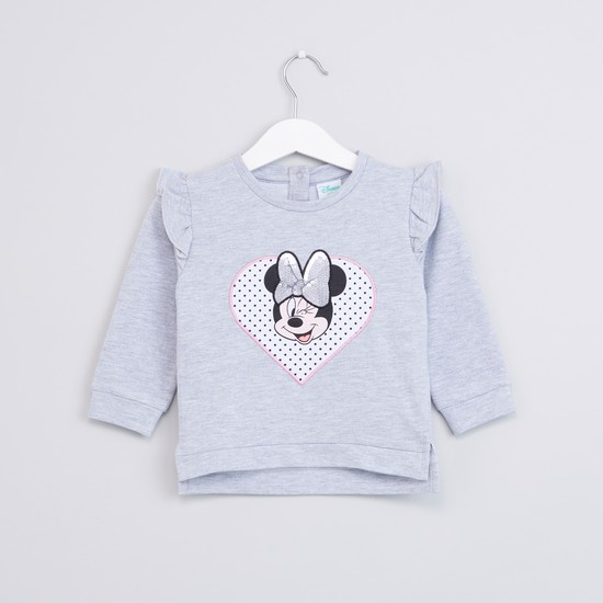 Minnie Mouse Printed Sweatshirt with Long Sleeves