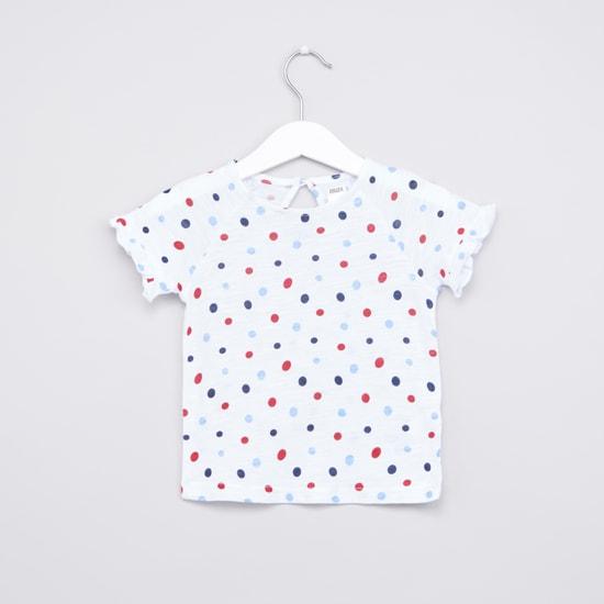 Polka Dot Printed Top with Denim Pinafore