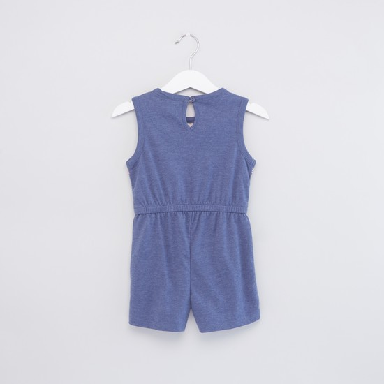 Embroidered Sleeveless Playsuit with Pocket Detail and Tie Ups