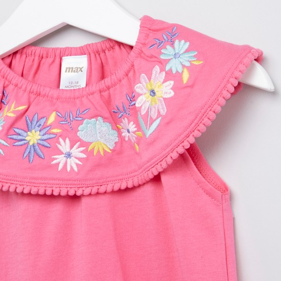 Embroidered Frill Neck Sleeveless Blouse