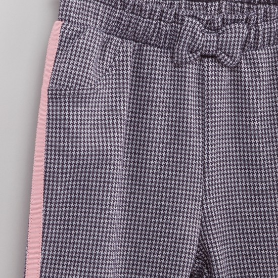 Houndstooth Textured Pants with Elasticised Waistband