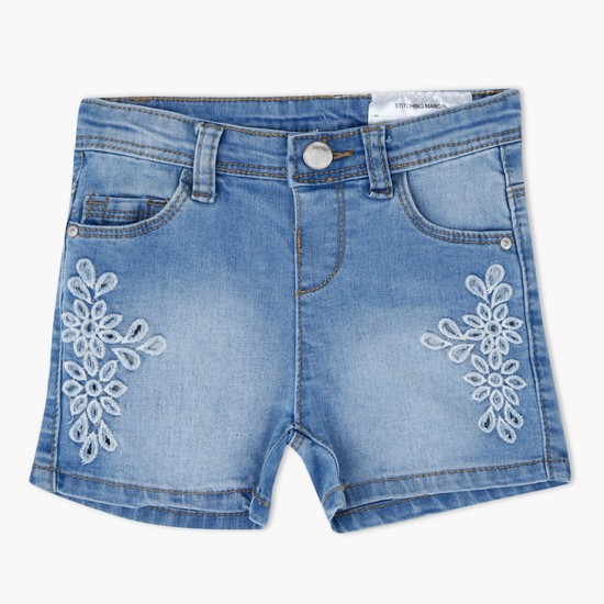 Embroidered Shorts with Button Closure