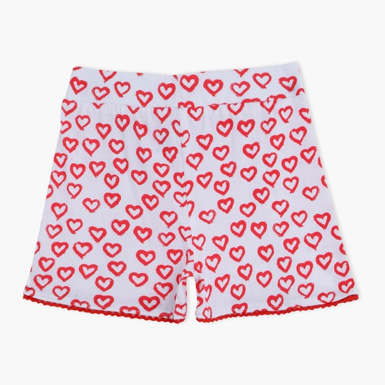 Hearts Printed Shorts with Elasticised Waistband