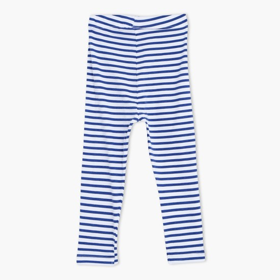 Striped Full Length Leggings with Elasticised Waistband
