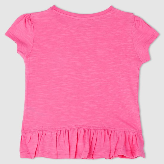 Round Neck Frill Detail T-Shirt