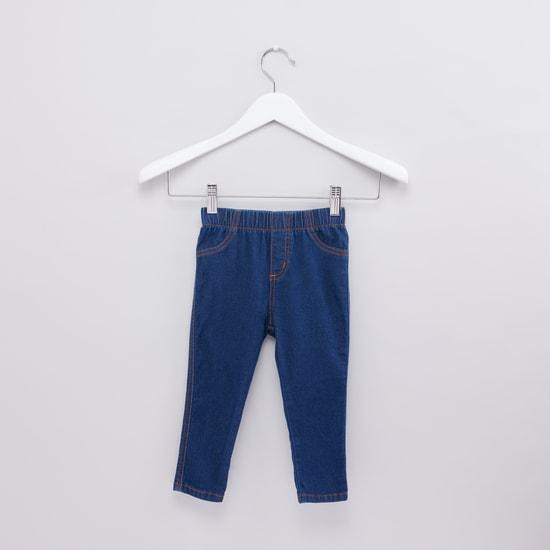 بنطال جينز طويل بخصر مطاطي وجيوب