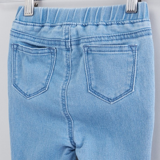 Embroidered Jeans with Elasticised Waistband and Pocket Detail