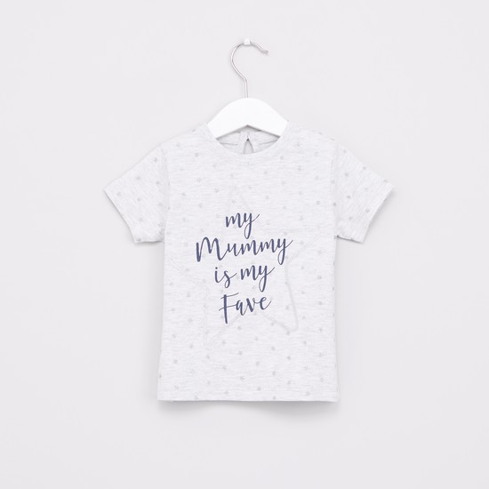 Text Printed Round Neck Top