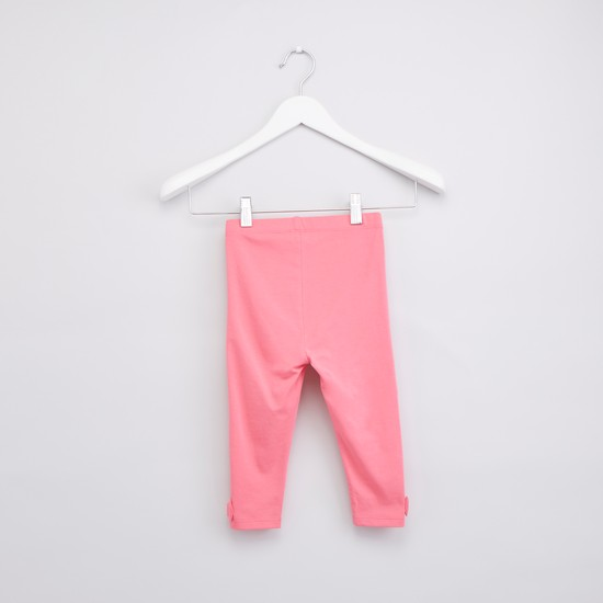 Plain Leggings with Bow Applique and Elasticised Wasitband
