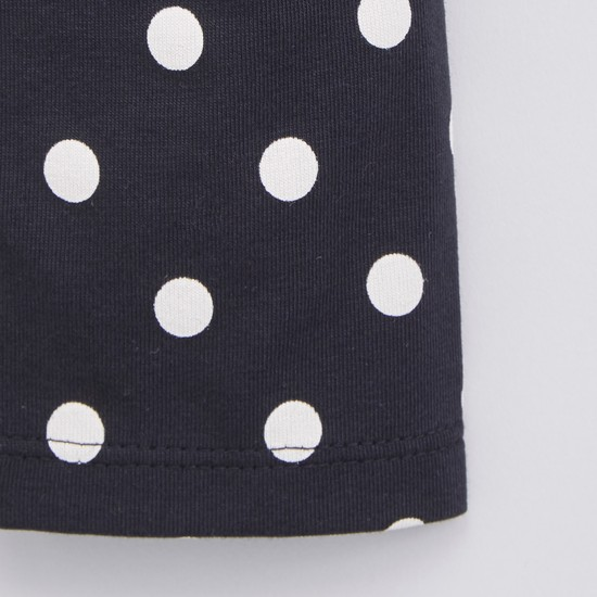 Polka Dot Printed Leggings with Elasticised Waistband