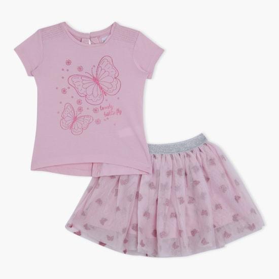 Printed Top and Skirt Set
