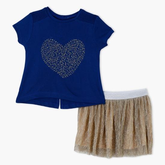 Printed T-Shirt and Skirt Set