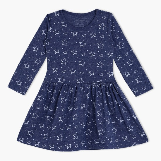 Star Print Dress with Long Sleeves