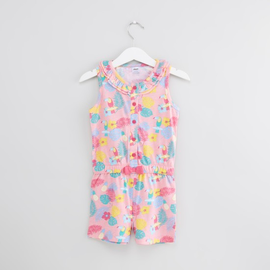 Printed Sleeveless Playsuit with Frill and Bow Detail